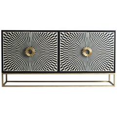 Wooden and Metal Italian Design and Memphis Style Sideboard