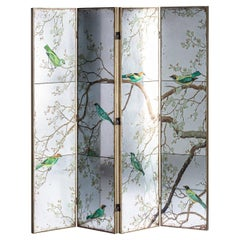 Wooden and Mirror Folding Screen Divider