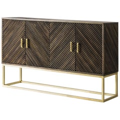 Wooden and Gilded Metal Brutalist Design Sideboard