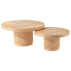Wooden and Pencil Reed Rattan Round Coffee Tables Set