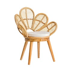 Wooden and Rattan Flower Shaped Chair