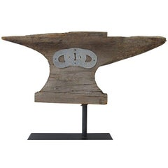 Wooden Anvil Weathervane From a Fraternal Lodge