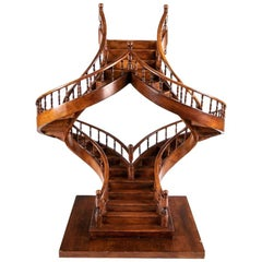 Wooden Architectural Model of a Double Spiral Staircase
