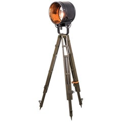 Wooden Army Tripod Black Vintage Industrial Spot Light Floor Lamp