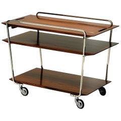 Wooden Bar Cart on Wheels