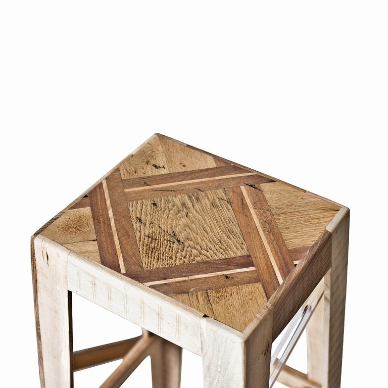 Italian Wooden Bar Stool in Handcrafted Elm by Hillsideout For Sale