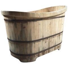 Wooden Bath Tub Freestanding Slipper Bath Cedar Wood Rustic