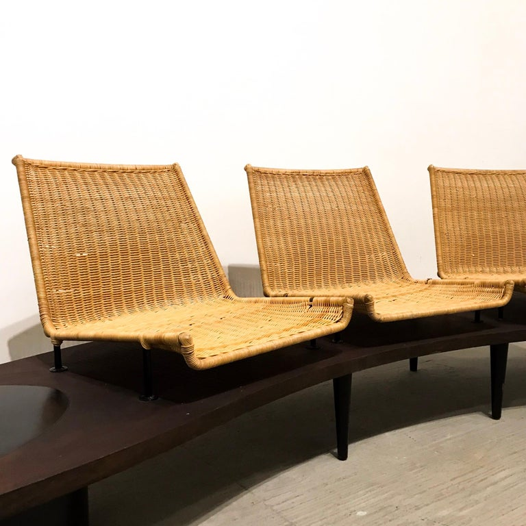 Mid-Century Modern Wooden Bench For Sale