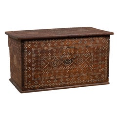 Wooden Blanket Chest from Madura with Geometrical Mother-of-Pearl Inlay