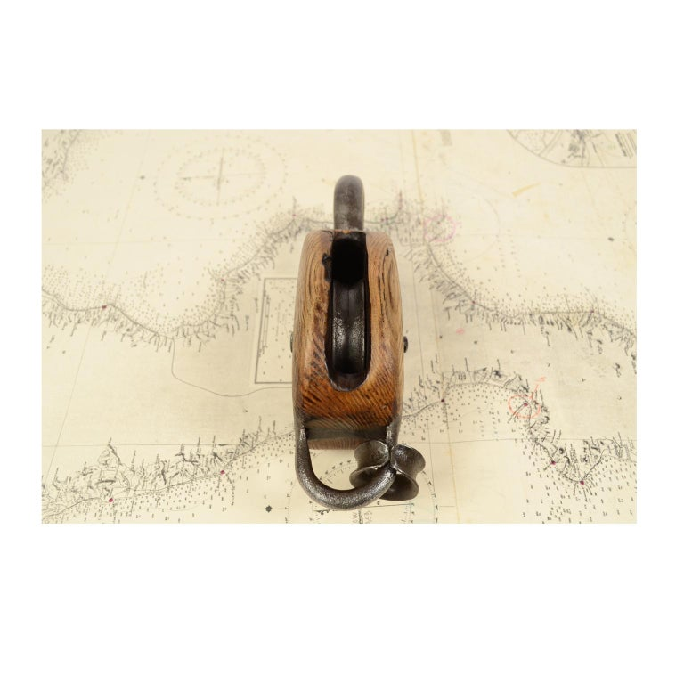 Mid-19th Century Wooden Block Complete with Ring with Iron Pulley, 1850 For Sale