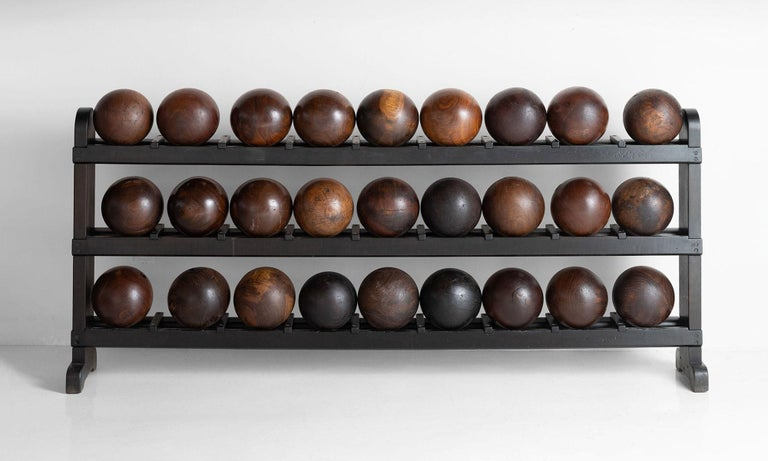 American Wooden Bowling Ball Rack and Balls For Sale