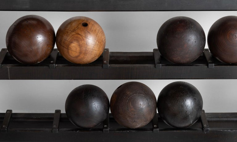 Wooden Bowling Ball Rack and Balls In Good Condition For Sale In Culver City, CA