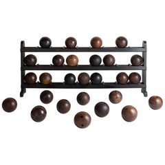 Wooden Bowling Ball Rack and Balls