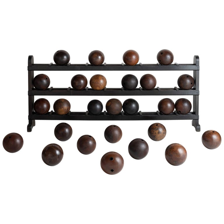 Wooden Bowling Ball Rack and Balls For Sale