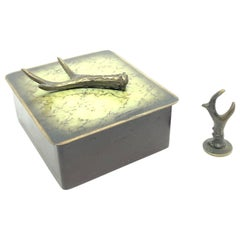 Wooden Box Bronze Lid & Deer Antler Seal Desktop Decoration 1930s Vienna Austria