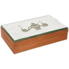 Wooden Box with Mirror Tobacco Holder, Art Deco, 1940, Tabak