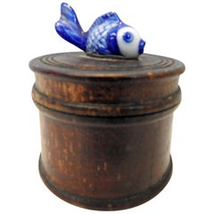 Wooden Box with Porcelain Koi Fish on Lid