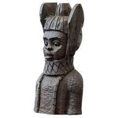 Wooden Bust Carving of an Oba of Benin, Edo People, Nigeria, circa 1950s