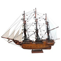 Wooden & Canvas Handmade Model Ship, Stamped Constitution