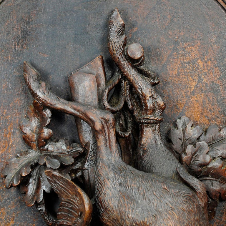Wooden Carved Black Forest Game Plaque with Stag, Duck and Partridge In Good Condition For Sale In Berghuelen, DE