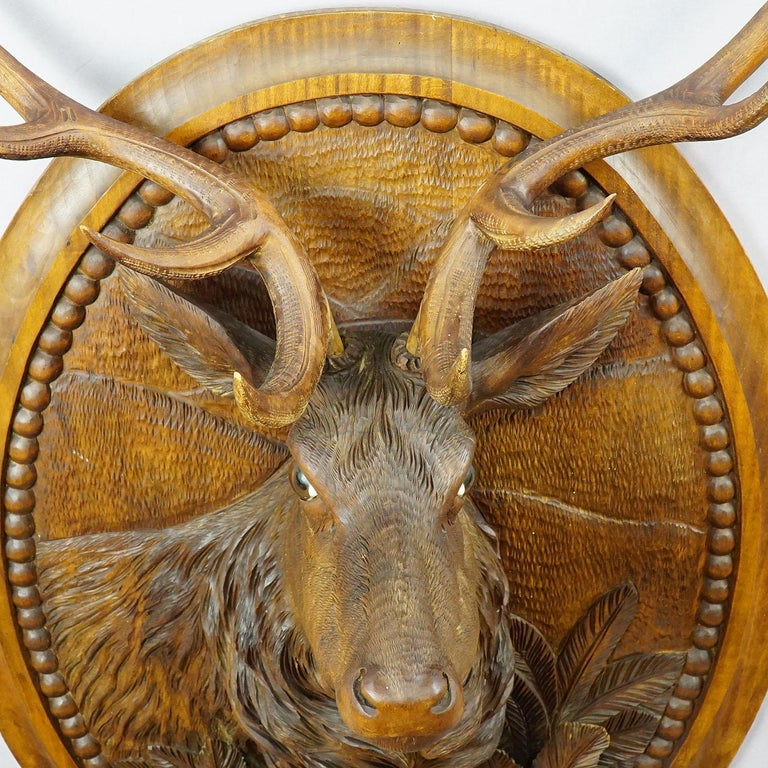 Wooden Carved Black Forest Plaque with Stag For Sale 4