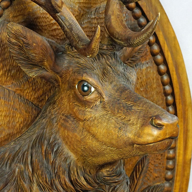 German Wooden Carved Black Forest Plaque with Stag For Sale