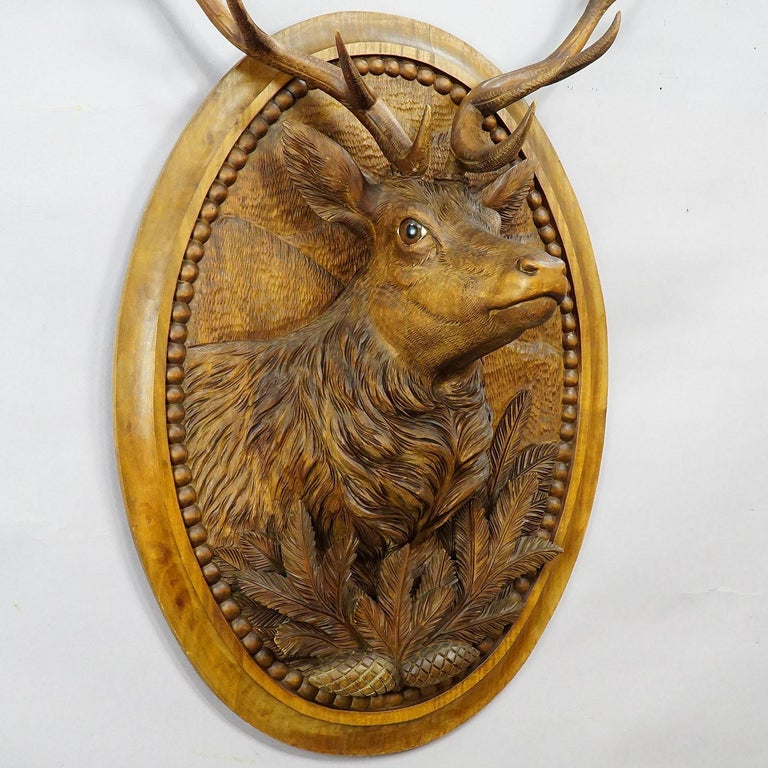 19th Century Wooden Carved Black Forest Plaque with Stag For Sale