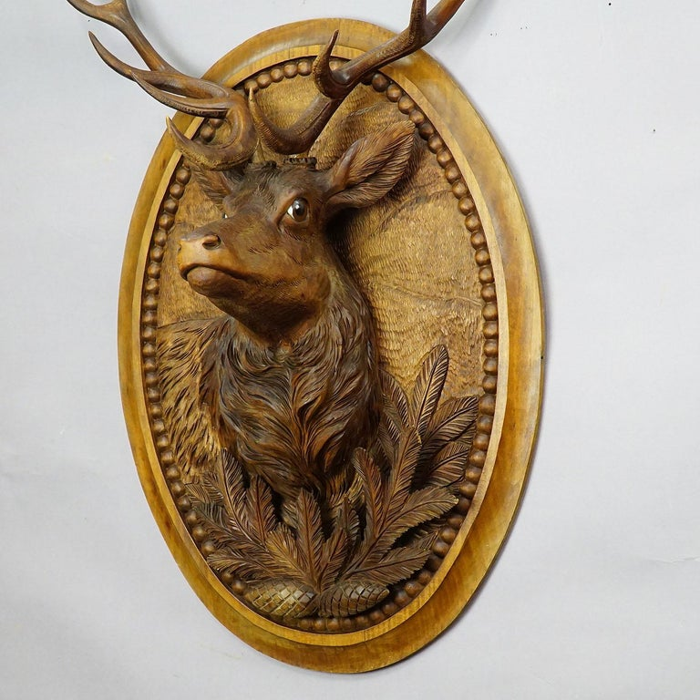 Nutwood Wooden Carved Black Forest Plaque with Stag For Sale