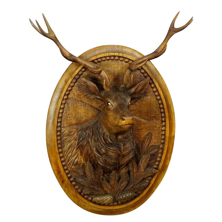 Wooden Carved Black Forest Plaque with Stag For Sale