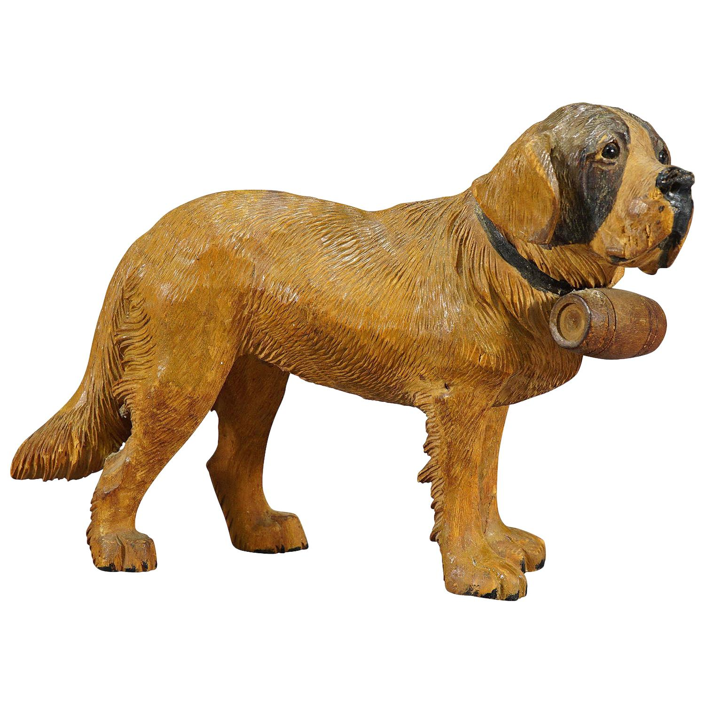Wooden Carved Black Forest St. Bernhard Dog, Brienz 1934