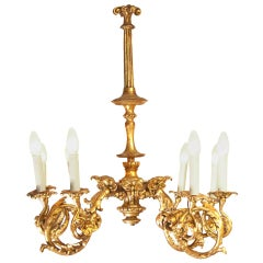 Wooden Carved/Gilded Baroque Chandelier, 1920s Original of the Time, Restored