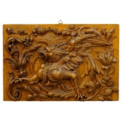 Wooden Carved Panel with Gargoyle and Lizard, Germany, circa 1920