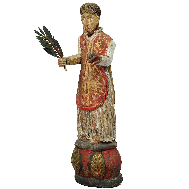 Wooden Carved Sculpture of a Saint, circa 1850