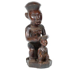 Wooden Carved Statue of Bakongo or Kongo Tribe Maternity Figure