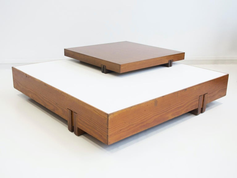 Modern Wooden Center Table Attributed to Armo Scarpa For Sale