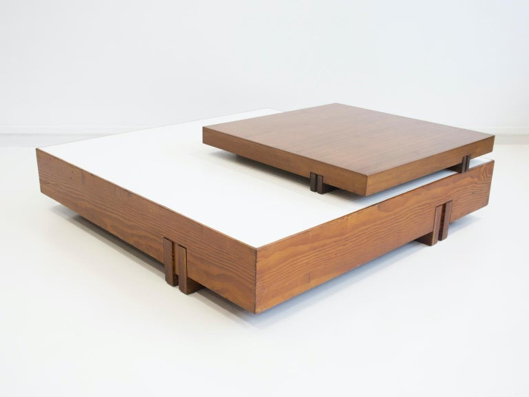 Italian Wooden Center Table Attributed to Armo Scarpa For Sale