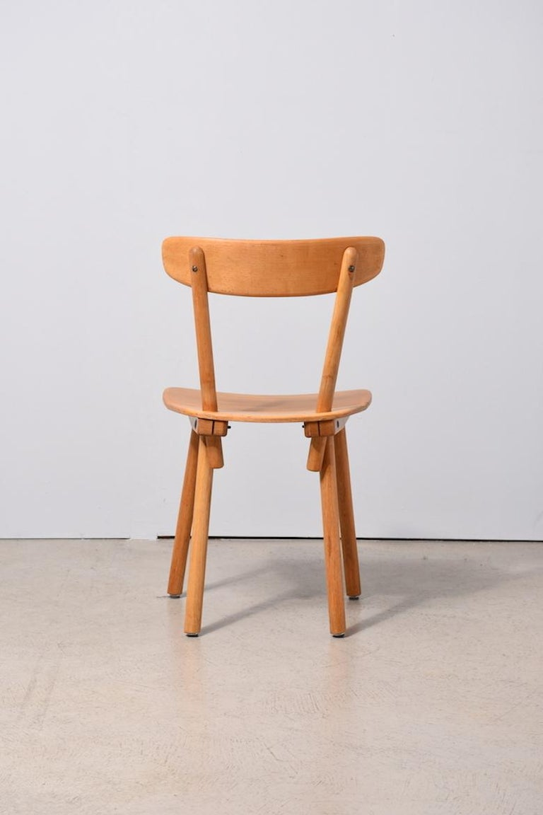 Mid century modern wooden chair by jacob müller for wohnhilfe zurich 1940s switzerland