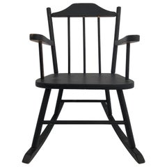 Wooden Child's Rocking Chair with Spindle Back, Painted Black