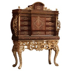 21st Century Wooden Cigar Cabinet with Baroque Carvings, Handpainted, Gold Leaf