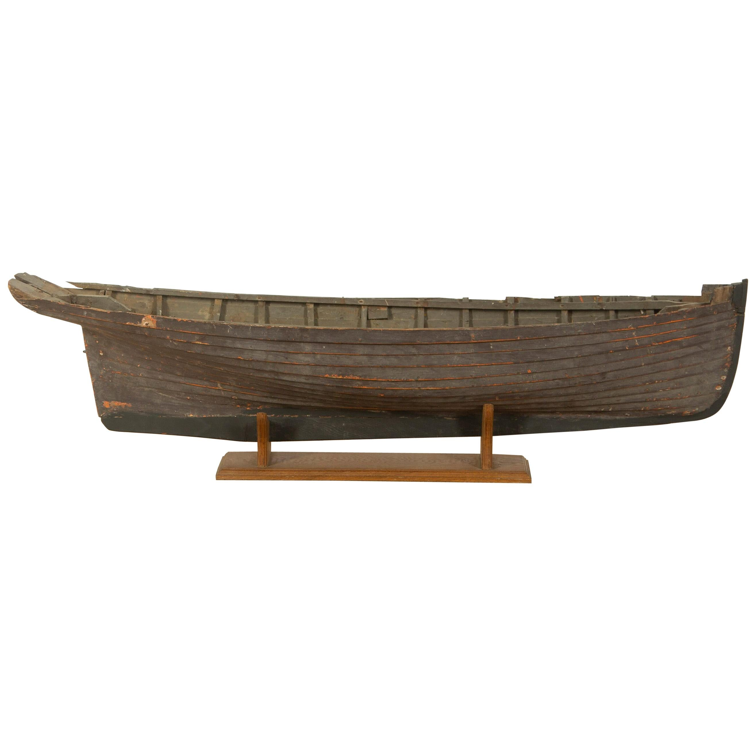 Wooden Clinker Boat Hull on Stand