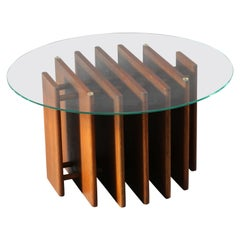 wooden coffeetable with glassplate Italian 1950