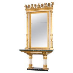 Wooden Console Table with Mirror, Genua, Directoire Style