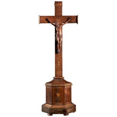 Wooden Crucifix with Nicely Carved Jesus Christ on the Cross and Inlaid Rosewood