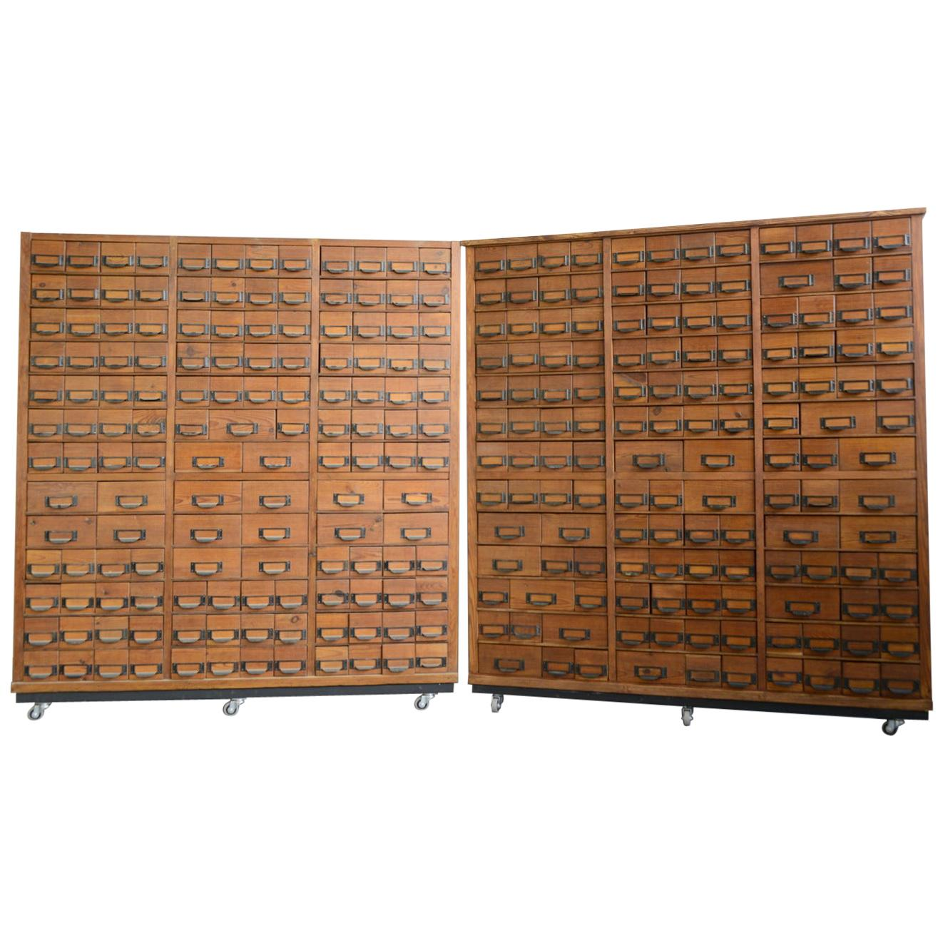Wooden Dental Surgery Record Cabinets, circa 1950s