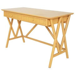 Wooden Desk, Console Table or Vanity Table by Roberti Rattan, Italy