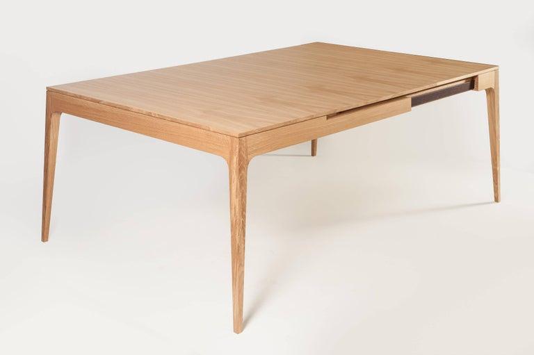 Minimalist Oak Long Dinner Table Extendable For Sale 3