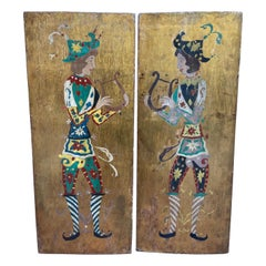 Wooden Diptych, Lyre Players, 19th Century