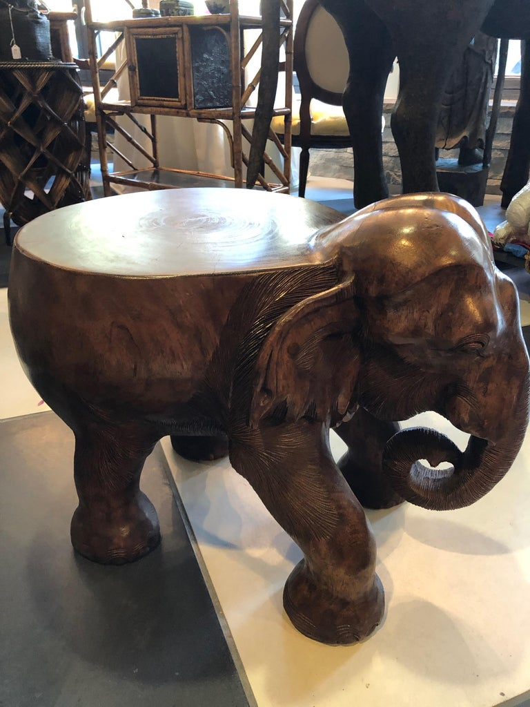 Wooden Elephant Table Or Stool At 1stdibs