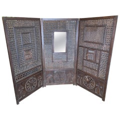 Wooden Folding Screen Made from 19th Century Harem Door Panels