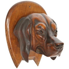 Riding Crop Holder Having a Hand Carved Wooden Dog's Head with Glass Eyes